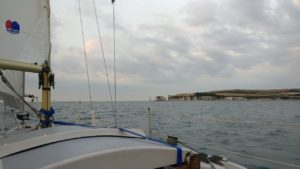 View of Old Harry Rocks, from the outbound Channel crossing.